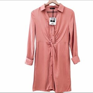 Very J Twist Front Long Sleeve Shirt Dress